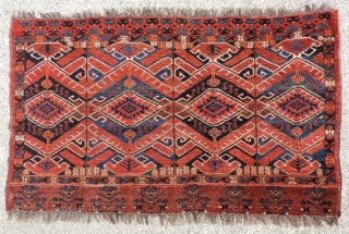 Ersari group Juval with bold reed screen-like design of large scale and right proportions.  19th century. Overall good condition.  Knotting is open right. Selvedges are original.  The ends are  ...