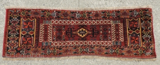 Middle Amu Daria central medallion trapping with unusual design and rich color.  19th century.  54 x 19 inches.  Missing a bit at bottom, but nicely  stabilized and clean.  ...