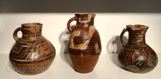 Three large ceramic pitcher shaped vessels from the ancient Americas.  These pots are from the Altiplano region of Bolivia and date to between A.D. 600 - 1400.  Each is from  ...