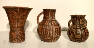 Three Ceramic vessels from the Lake Titicaca Basin. Yampara culture.  A.D. 900 - 1400. All three are in remarkable condition and are very good examples of a rare group of Altiplano  ...