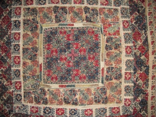 Greek Embroidery, probably Attica or Lesvos, circa 1800? Ottoman style, many colors of silk floss and limited use of silver metallic. 89x89cm