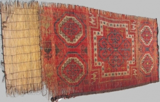 """Kyrgyz Reed Screen with Memling Guls and Camels. One of the choicest pieces published in John L. Sommer's groundbreaking book, """"The Kyrgyz and Their Reed Screens"""" (1996) as plate' 5) 93.27 Kyrgyz  ..."""