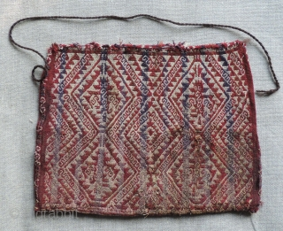 Pre-Columbian 'Chuspa' - Bag for holding coca leaves.  Northern Chile - A.D. 1100 - 1470. Alpaca fiber complementary warp faced weave.  Size: 8 x 10 inches.  Images shot in  ...