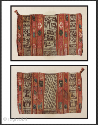 """Pre-Columbian bag. a.d. 1000 - 1400. a very large, ceremonial coca bag (17"""" x 11"""") with fantastic creatures that are different on each face of the bag. This rare mixed technique tapestry  ..."""