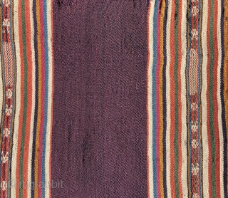 Fine Aymara woman's shoulder cloth. Lake Titicaca region 19th century. Textiles like this are the most finely woven of Aymara textiles.  They often have red wefts concealed within the warp-faced weave  ...