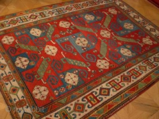 Pinwheel Kazak circa 1850 size 1.75m x 2.40m. A great example of the classic type. See Herrmann 'Asiatische Teppich und Textilkunst' Band 4 plate 40 for a similar example. This one is  ...