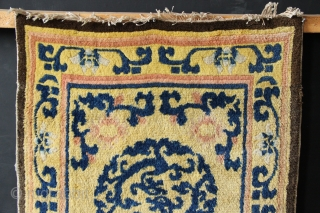 """18th century Chinese runner fragment, re-purposed into a rug size. Verly lovely opposed dragons in the medallions. 2'7"""" x 5'2"""""""