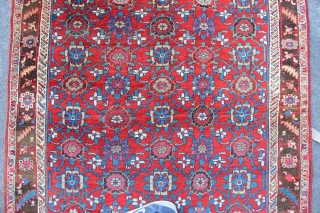 """Lovely, proper old Kurdish Bidjar Mina Khani rug 4'11"""" x 8'11"""". A bit flat in places but a great strong 'iron' weave that has plenty of life left in it. One end  ..."""