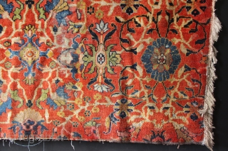 "Big piece of the field of a beautiful Ziegler-Mahal carpet. Worn, with some colour run from something else around the edges. Professionally washed. 8'8"" x 5'6"" / 264 x 167cm