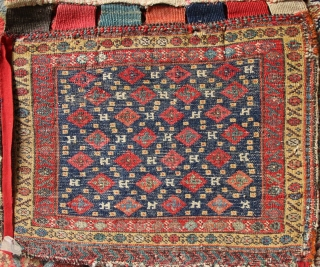 Kurdish bagface, full pile, beautiful patination and natural dyes. Several small holes.