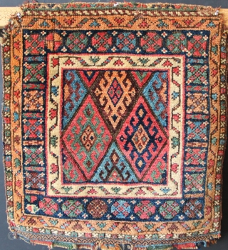 """Antique Jaf bagface, glowing natural dyes. 1'9"""" x 1'10"""" / 53 x 56cm Good pile height, upper corners rounded. Please contact me at jamescohen50@hotmail.com to purchase, thank you."""