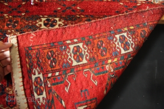 """Gorgeous, stunning mid 19th century Tekke 6 Gul torba, super fine, with great colour and huge, round guls. 1'7"""" x 4'0"""" / 49 x 122cm. In full pile, bar a couple of  ..."""