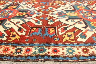 """Eagle Kazak circa 1880 in full pile but with scattered old repairs that need improving. Can be used as is.  3'7"""" x 6'6"""""""