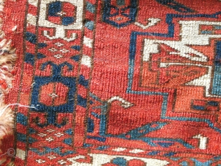 large-scale Six Gul Tekke Torba. very soft and supple. some condition issues but still a great old Turkmen piece.