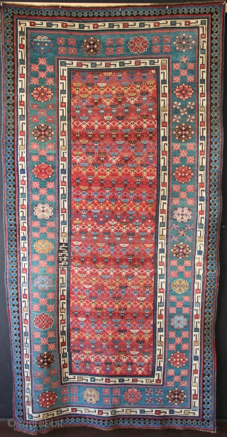"""Talish area Caucasian rug dated 1879. In showroom condition (ie minor restoration) there is even low pile allover, and warm, attractive colour, particularly the abrashed green border. 4'1"""" x 7'10"""""""