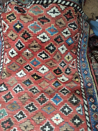 Kurd, North West Persian runner, circa 1900 in good condition.  Rug has  mostly full pile, with a few areas of oxidized brown/black showing exposed  knot loops (not all darker colors have  ...
