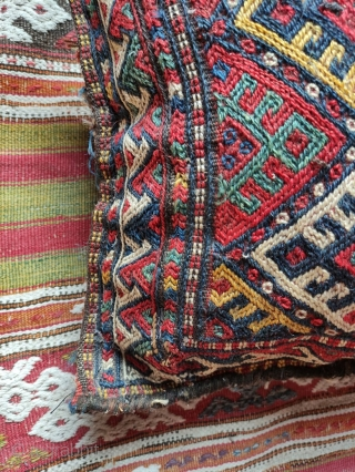 Kurd flatwoven bag.  Made into a pillow.  All natural colors.