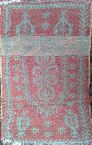 Medjedieh-style Central Anatolian Green on Red yastik, 20.5 x 33 inches, in very good condition. Similar examples: Brian Morehouse, YASTIKS, Nos. 97,98. The lighter passage across upper part was originally a pale  ...