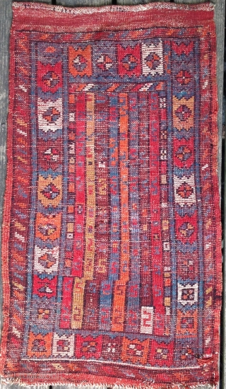 cute little early 20th century anatolian yastik, probably West Anatolia, maybe Makri region. Red wefts. most likely contains syntheric dyes.Recently hand-washed.