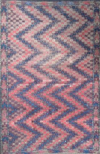 B-016 Antique Baluch ZigZag rug, full of energy. 86 x 160 cm (34 x 63 inches) please use johnbatki@gmail.com
