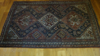Late 19th century Qashqai 4'3'' x 6'5''.  Low pile, but otherwise good condition.  Great drawing.
