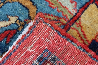Early 20th century Bijar.  Measures 9'3'' x 13'6''.  Cotton warps and mix of cotton and wool weft.  Nice colors.  Fair overall condition with some areas of low pile  ...