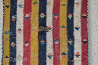 Tribal Antique 19 th century 100 % Silk Shahsavan little bag.Condition as found. Silk weave and  embroidery .Holes and stain's. But stil decorative and collectible. Need a wash. 100% natural colors and  ...