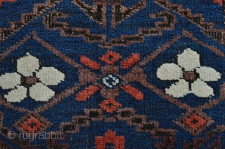 Beautiful antique baluch small rug coroded brown great age related  All natural colors