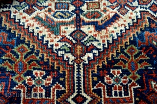 19 th century little Khamseh Confederation Antique rare dowry rug. Original condition