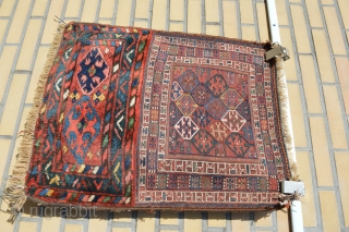 Colors for sale, Antique Luri Bahtiyar Bagfront with soumak weave.