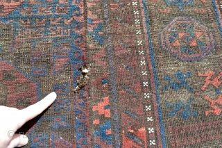 Huge 19th century Baluch Timuri Main Carpet from a Dutch Estate. Size 292 x 184 centimeters .100% natural colors amazing variation in paterns.Slightly wear coroded area's Original kilim ends few little holes .No  ...