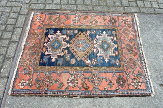 Very decorative end of 19th century or circa 1900 Karadja Heriz region small rug size 108x129 centimeters.  Check other items,