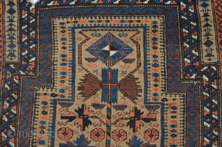 With dog bite beautiful patterned still collectible antique baluch prayer rug
