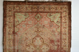 Extreemly Rare double side knoted 19th century Small Angora  Ushak Or Oushak  Beautifull soft silky shiny wool, Some wear and worn areas top quality natural dyes Try to find the second one  ...