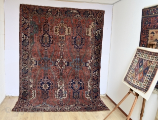 We try to classify this antique rug but unfortunately we can't it is Beautifully designed 100% wool foundation  circa 1900's Soft meaty tuch mostly full pile some spots lower area's symmetrical and mostly  ...