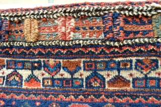 Very Colorful Antique Afshar Bagface good pile and good wool. one litle mothbite rest in very good condition, Just for afshar lovers. Size 85 x 85 centimeters,