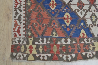 This Beautiful as found Antique Anatolian Kilim Probably Sivrihisar area has all natural colors and very good heavy feeling soft wool some spots of small old repairs.. very colorful and designful    ...