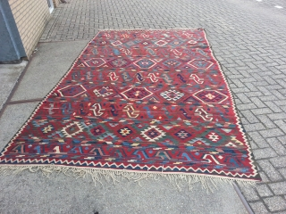 Antique Caucasian Oversize Kilim .Beautyfull collors and very nice design. Incredible fine weave.Natural colors 100% wool Similar item in the book museum of turkish and islamic art Kilims from Nazan Olcer, plate 68.