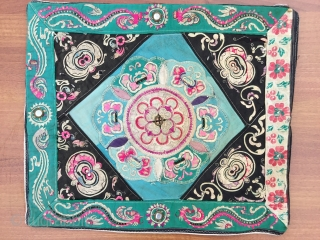 Chinese Embroidery 19th Century Size:40x36cm / 14x16 inc   Made it a pillow it ,linen Backing and hidden zipper
