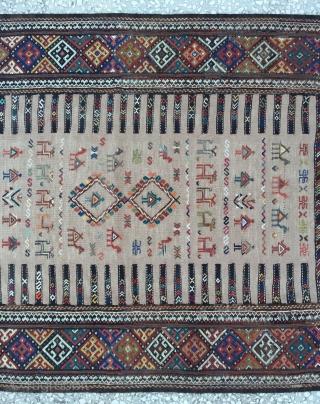 """Kurdısh (Koçan) Sumac kilim Rug Size: 178x95 cm/ 5'8""""x3'1"""" ft"""