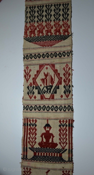 Interesting Large antique Laotian temple banner textile from Laos