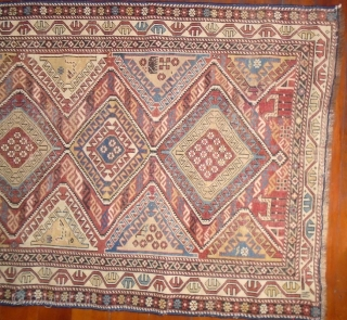 Shirvan,circa 1900,(106x145),low pile evenly worn