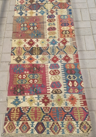 """Anatolian kilim part with good colors and gae,nice design.Size 9'5""""*2'4"""".E.mail for more info and pics."""