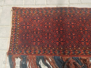 """Central Asian trapping or Jalor with good colors and condition,nice design,original tassels without any work done.Size 4'9""""*1'3""""."""