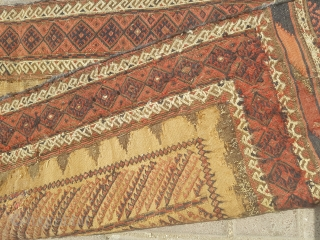 Camel ground baluch sofreh with very fine weave and good age,cut shut,As found.E.mail for more info and pics.