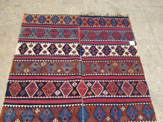 """Beautiful Anatolian Kilim with great natural colors,good design abd condition.size 9'2×4'10"""".E.mail for more info and pics."""