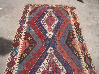 """Large Colorful early Anatolian Kilim with some condition issues,great natural colors as found without any work done.Size 13'4""""*5'6"""".E.mail for more info and pics."""