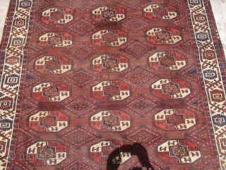 """Early rug with good age colors and beautiful border,old repairs done.Size 9'3""""*5'7"""".E.mail for more info and pics."""