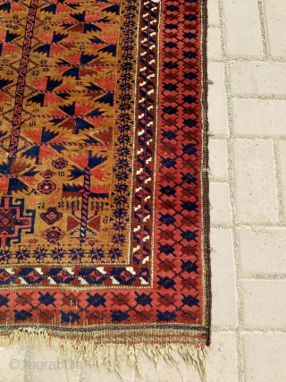 """Camel ground Baluch Prayer Rug with silk highlights and beautiful border,soft shiny wool,all natural colors,very fine weave,kilim endings,all original without any work done.Size 4'4""""*2'11"""".E.mail for more info and pics."""