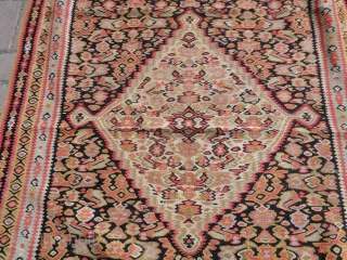 Senneh Kilim with good colors design and condition,fine weave,all good colors,E.mail for more info and pics,